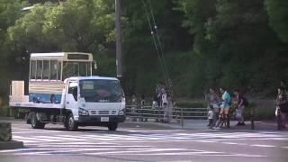 【第13回スルKANバスまつり】阪急バスのミニバスが甲種回送される光景