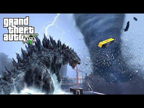 HUGE TORNADO AND GODZILLA DESTROY LOS SANTOS - GTA 5 APOCALYPSE NATURAL DISASTERS MOD