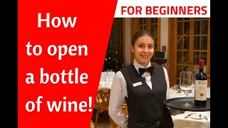 How to open a bottle of wine with a wine opener. Wine service! Waiter training! Restaurant service!
