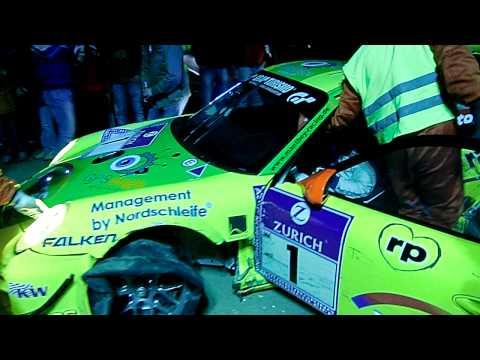 24h Rennen Nürburgring 2010 Manthey Porsche Crash