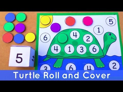 Turtle Roll and Cover - Preschool Number Activity For Math Centers