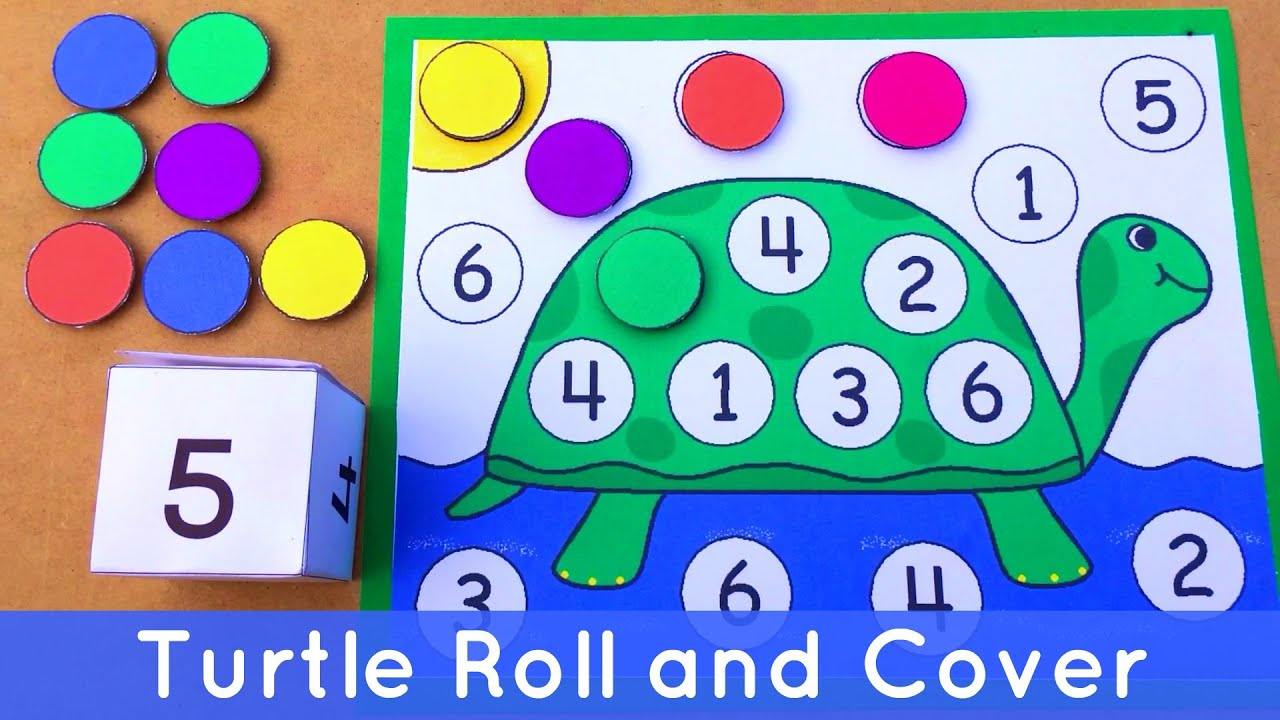 Turtle Roll And Cover Preschool Number Activity For Math