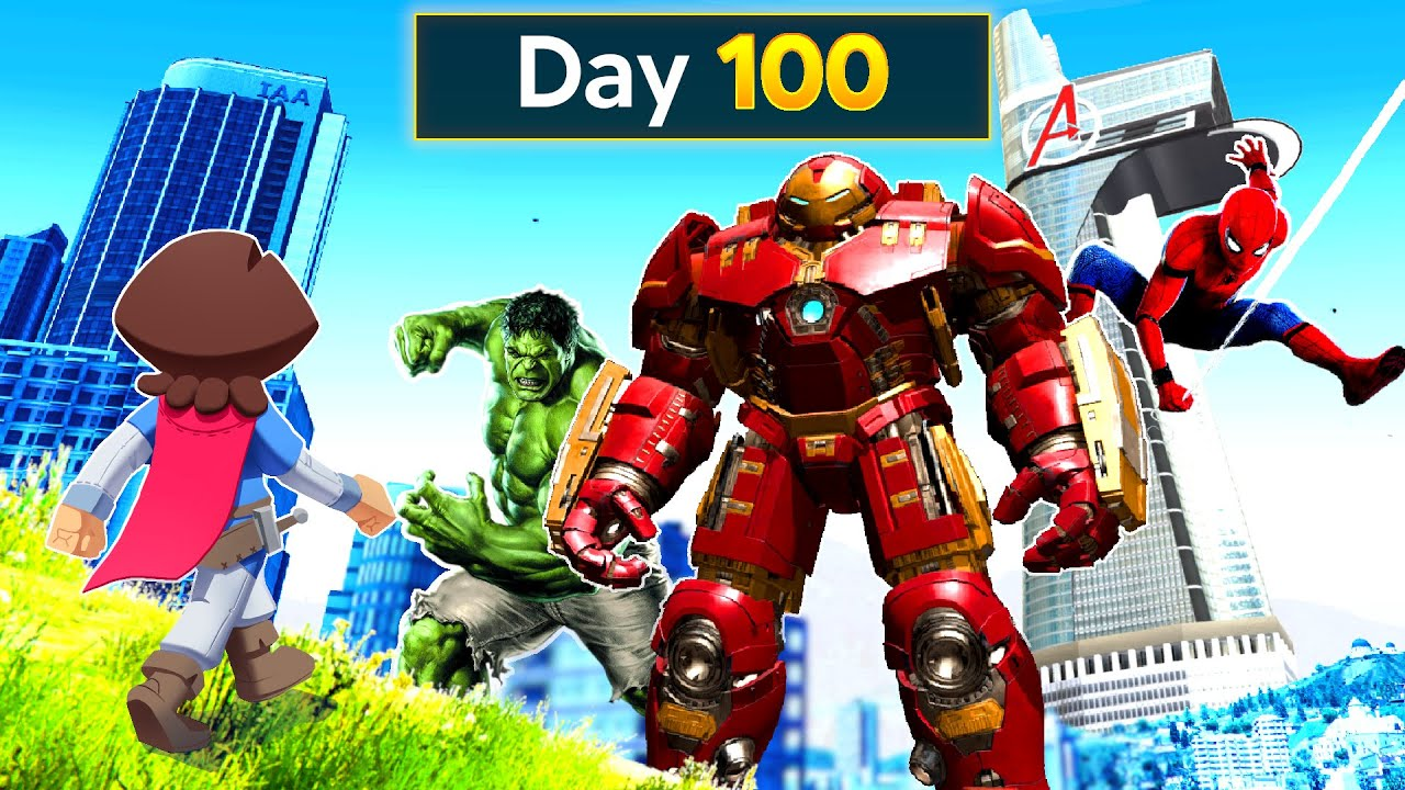 Download Surviving 100 DAYS In A SUPERHERO CITY In GTA 5!