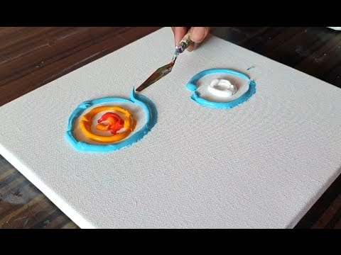 Sun Moon Abstract Painting Very Simple Fun Demonstration Project 365 Days Day 0322 Youtube