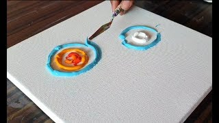 Sun & Moon / Abstract Painting / Very Simple / Fun / Demonstration / Project 365 days / Day #0322