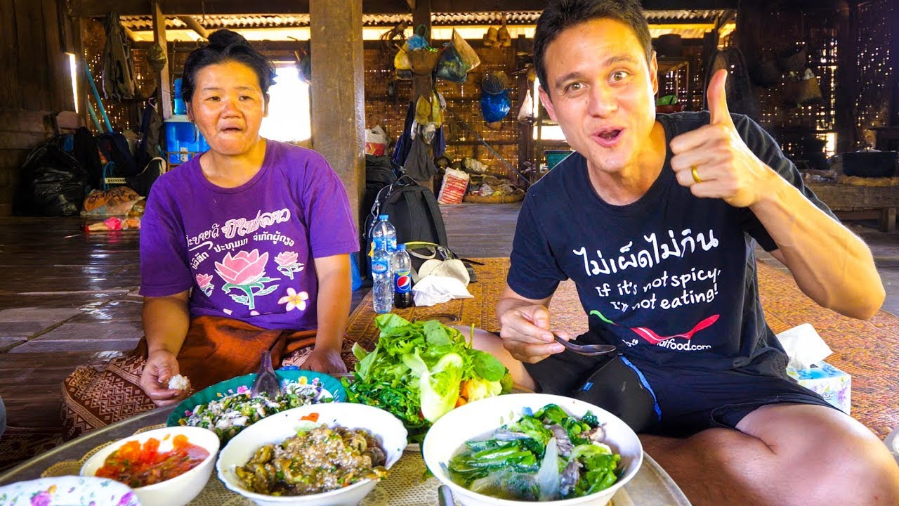 Laotian Food - STUNNING LAO FISH SALAD | Village Cooking in Laos!