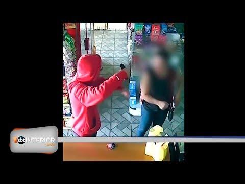 Câmera de segurança flagra assalto em padaria de Rio Preto