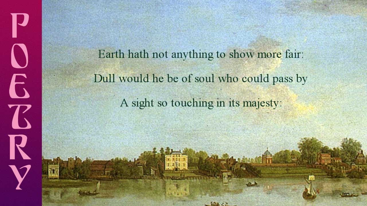Wordsworth S Sonnet Composed Upon Westminster Bridge Meaning Of The Poem