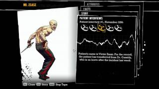 """Batman: Arkham Asylum"", all voiced interview tapes of Mr.Zsasz"