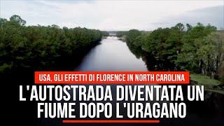 Stati Uniti, l'autostrada diventata un fiume dopo l'uragano: gli effetti di