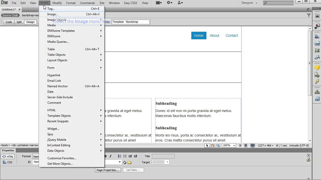 Using Bootstrap Starter Pages in Dreamweaver - YouTube