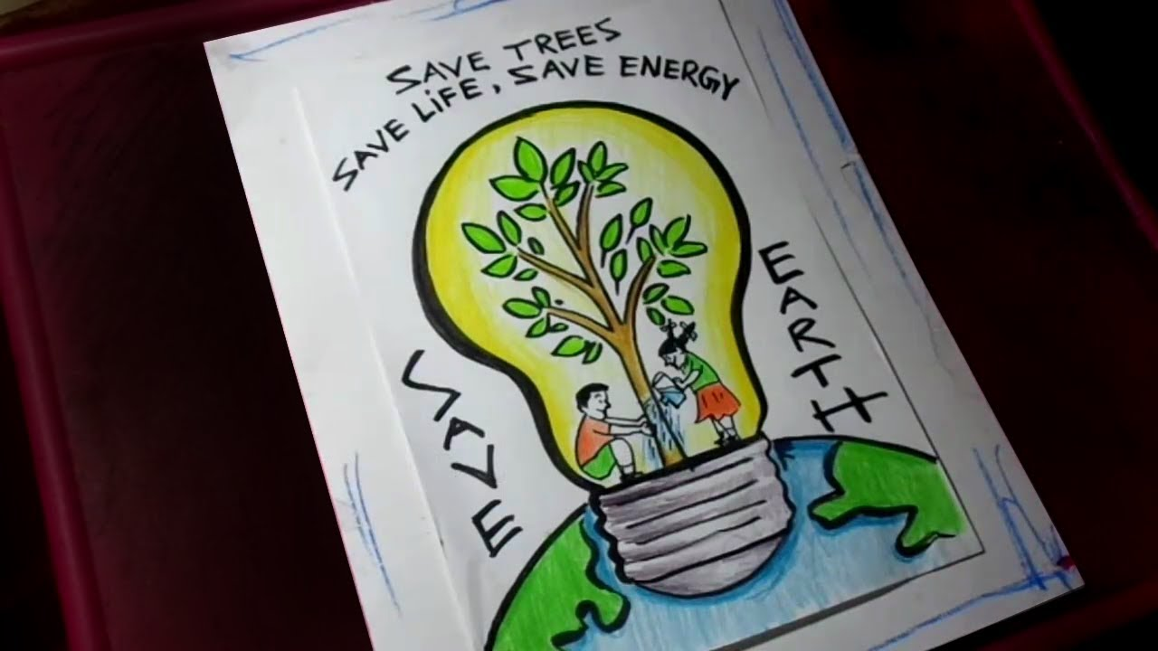 How To Draw Save Trees Save Life Save Energy Save Earth Poster Drawing Youtube