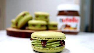 녹차 누텔라 마카롱 만들기 (하겐다즈 녹차맛) - How to make Green tea nutella Macaron -わちゃチョコレートマカロン