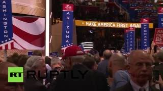 Crowd boo's Ted Cruz off the stage as Donald Trump crashes his speech at RNC