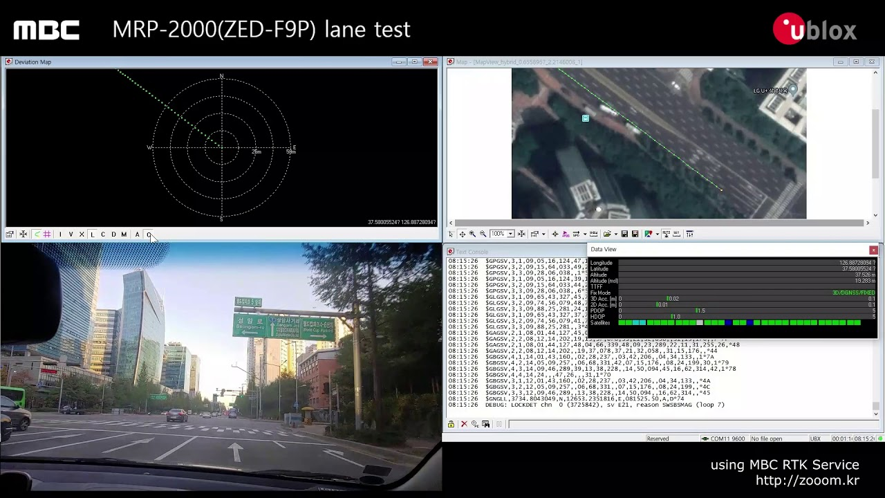 MBC MRP 2000 u-blox ZED F9P lane test