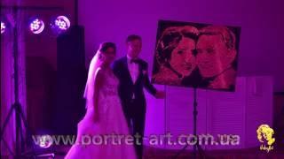 Золотое шоу на свадьба, Портрет золотой песок, Шоу Золотая пыль iluhinArt www.portret-art.com.ua