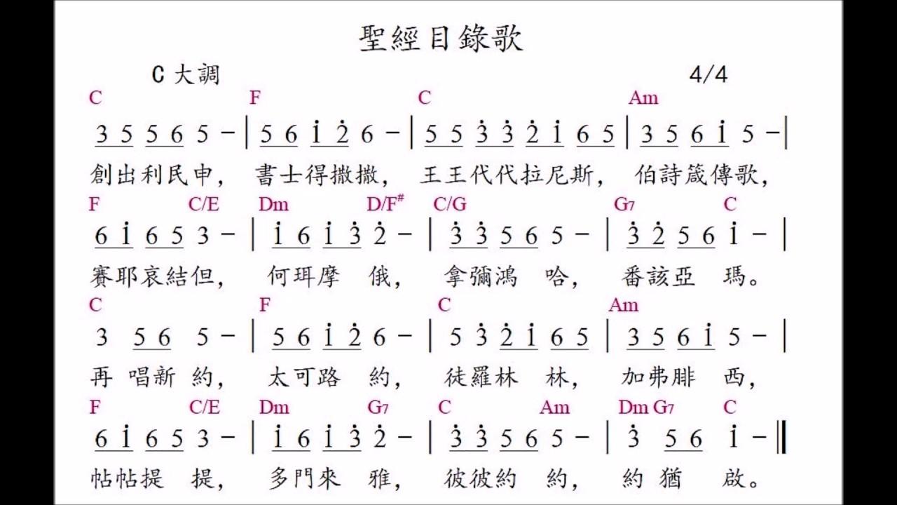 聖經目錄歌(Names of the books in the Bible in Chinese) - YouTube