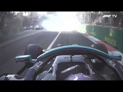 Lewis Hamilton Lock Up Restart Onboard + Team Radio - Baku - 2021 Azerbaijan Grand Prix