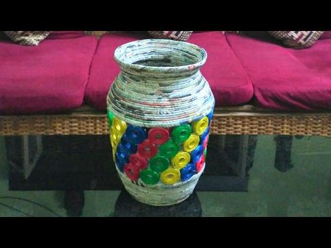 How to make a newspaper jar or vase