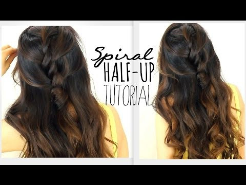 ★3-minute-spiral-half-updo-hairstyle- -easy-back-to-school-hairstyles