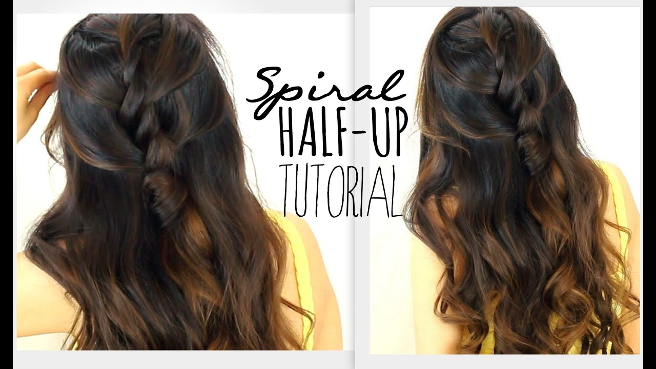 ˜�3 Minute Spiral Half Updo Hairstyle Easy Back To School