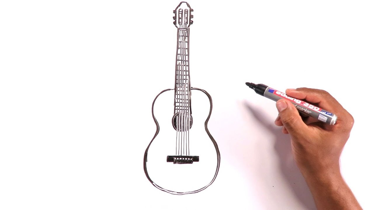 Learn To Draw An Acoustic Guitar Youtube