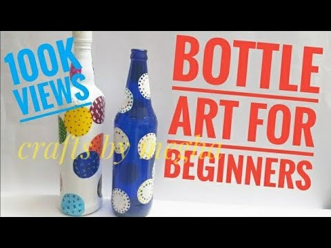 Bottle craft ideas/Bottle painting for begginers/simple and easy bottle decoration
