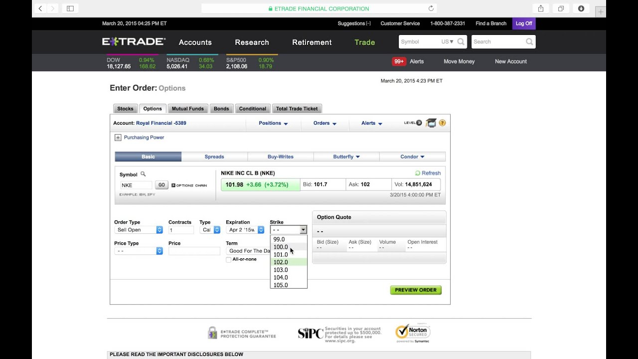 How to sell a covered call with etrade (3mins)