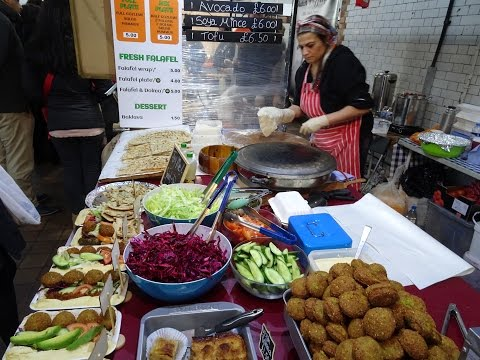 Turkish Street Food: freshly made GOZLEME & FALAFEL WRAPS at Boiler House Market, Brick Lane, London