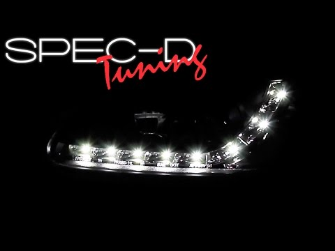 SPECDTUNING DEMO VIDEO: 1996-1998 HONDA CIVIC LED PROJECTOR HEADLIGHTS