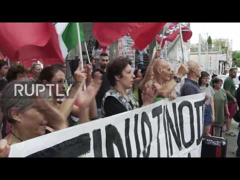 Italy: Anti-Immigrant CasaPound movement protest against migrant shelters in Rome