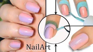 Ombre Gradient Nails Tutorial / Маникюр Омбре или Градиент на ногтях не пачкая кутикулу