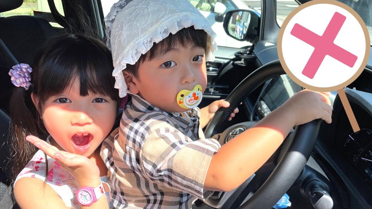 【あかちゃんごっこ】きゃー!赤ちゃんが車を運転してるよ! 危ないから赤ちゃんは車の運転席に乗っちゃダメ! ルールとマナーを覚えよう! お世話ごっこ プッシュポップ【まりちゃんいずちゃんチャンネル】
