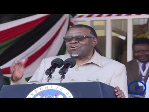 President Hage Geingob parades President Kenyatta and Raila Odinga