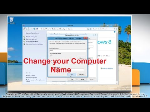 Changing Computer Name On Windows® 8 PC