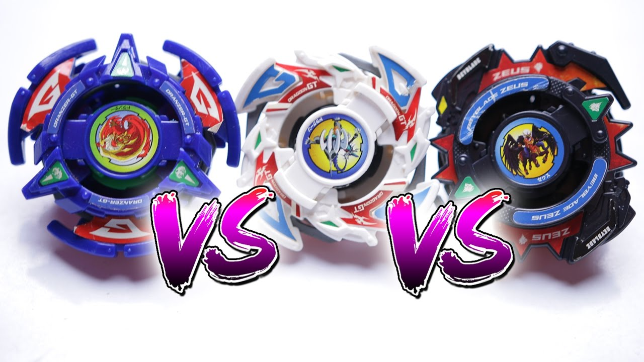 beyblade battle dragoon gt vs dranzer gt vs zeus epic battle