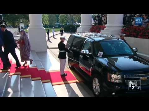 President Mohamed Ould Abdel Aziz of Mauritanian arrives at the White House Diner