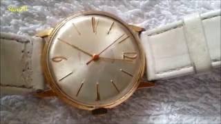 poliot de Luxe 2209 pozłacany zegarek męski z epoki  PRLu
