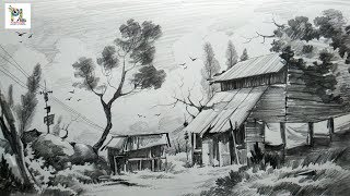 landscape drawing shading pencil sketch sketches drawings easy step shade strokes landscapes paintings portrait ee