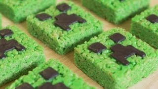 MINECRAFT CREEPER RICE KRISPY TREATS - NERDY NUMMIES