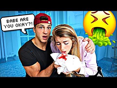 Throwing Up Blood PRANK On Boyfriend! *Cute Reaction*