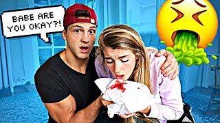 Throwing up Blood PRANK On Boyfriend! *Cute Reaction*