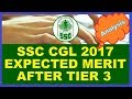 SSC CGL 2017 EXPECTED MERIT LIST AFTER TIER 3