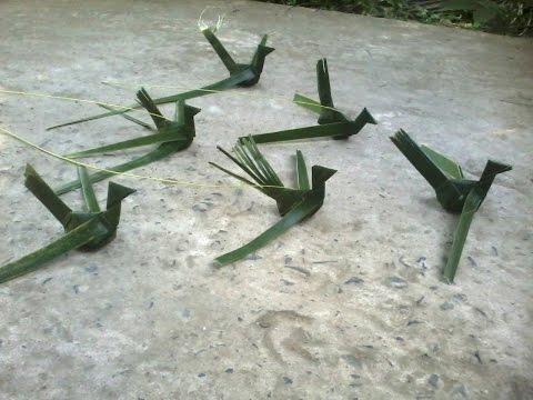Cách xếp chim bằng lá dừa...!!!