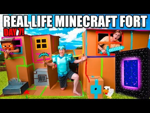 Real Life MINECRAFT Box Fort! 24 Hour Challenge DAY 7 - Building A Nether Portal