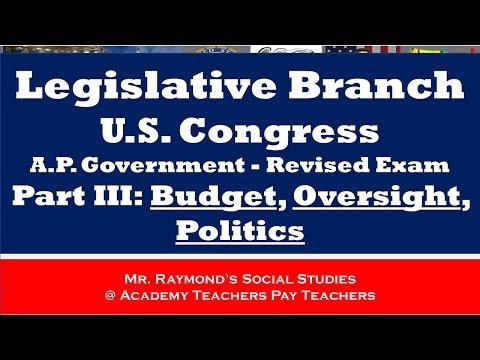 AP Gov. Legislative Branch Part III For Redesigned Exam