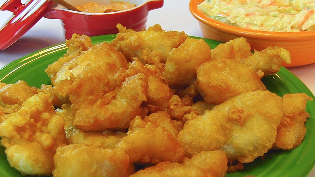 Betty 39 s deep fried fish nuggets youtube for Best oil for deep frying fish