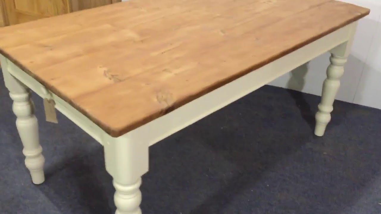 Pine Table With Painted Legs   Pinefinders Old Pine Furniture Warehouse  Video   YouTube
