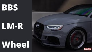 Watch the Audi RS3 in action complete with BBS LM-R Wheels.   This 2-Piece Die Forged Aluminum Wheel with diamond cut lip is offered in 19