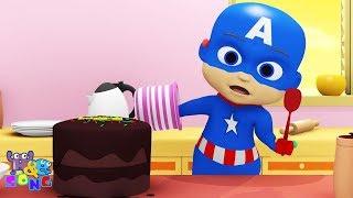 Baby Captain America Surprise Birthday Cake | Funny Cartoon Superhero For Kids | A&E Channel